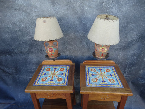 Beacon Tavern Karpen Tile Top Night Stands (pair) with Built-in Lamps circa 1930 F2215