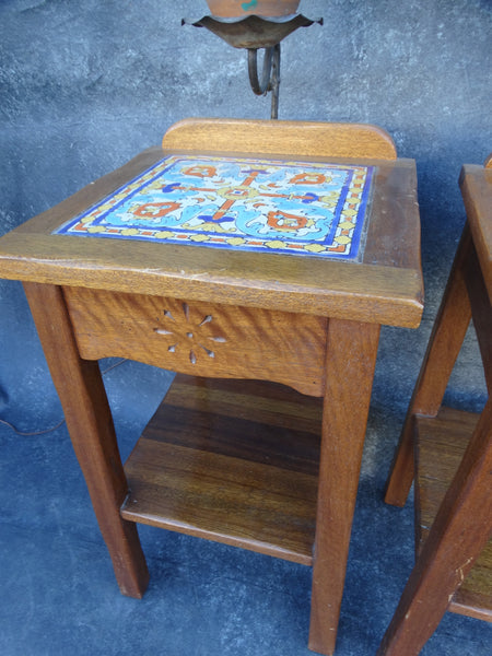 Beacon Tavern Karpin Tile Top Night Stands (pair) with Built-in Lamps circa 1930 F2215