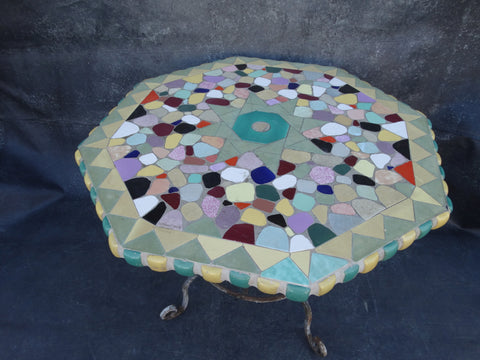 Spanish Revival Malibu Mosaic Tile-top Patio Table 1928 F2217