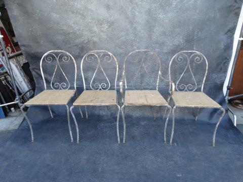 Set of 4 Painted Wrought Iron Spanish Revival Patio Chairs (one is a Captain's chair) F2218