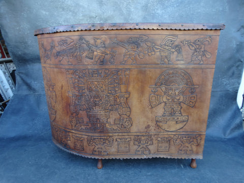 Hand-tooled Leather Mid-Century Aztec Bar circa 1959 F2227