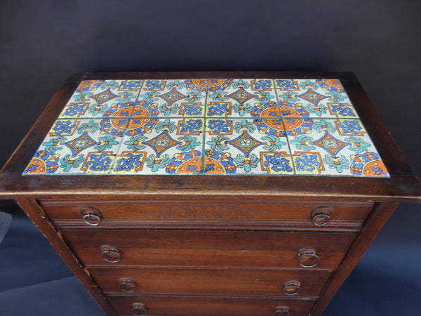 Angelus Furniture Hispano Moresque tile Top Highboy Dresser