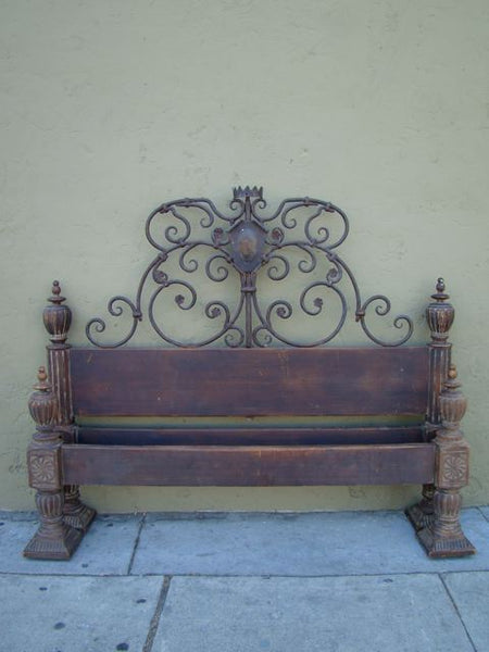 Spanish Colonial 19th Century Hand Carved Twin Bed