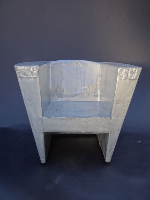 New Mexican Tin Repoussé Club Chair