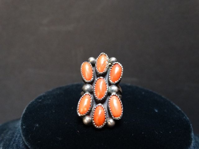 Silver and Coral Ring Size 4.5