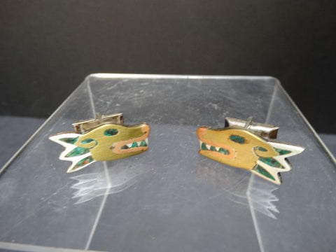 Los Castillo Mixed Metal and Stone Inlay Dog Cufflinks