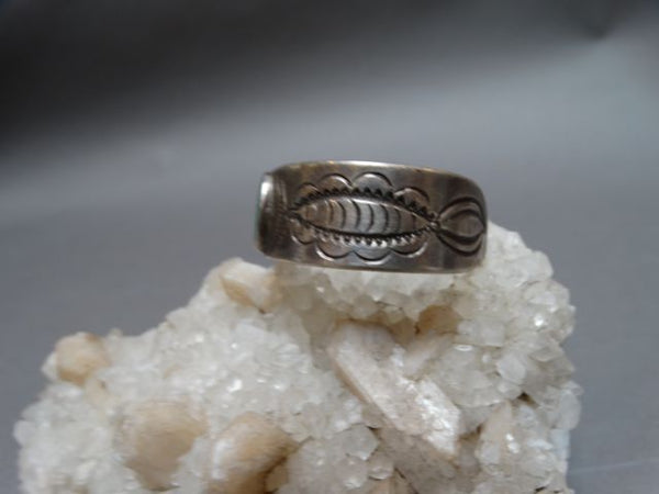 Native American Hand Tooled Silver and Turquoise cuff