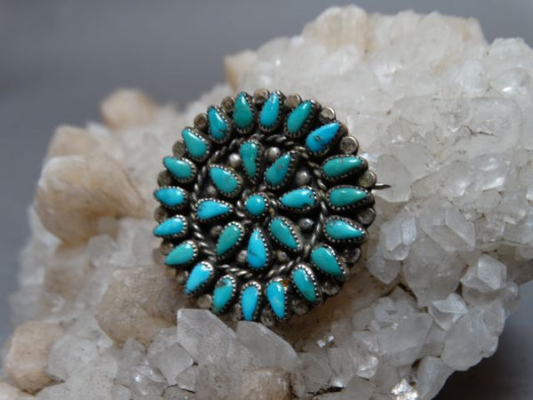 Zuni Silver and Turquoise Pin