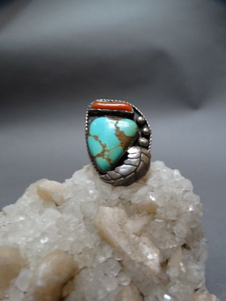 Silver, Turquoise and Coral Ring Size 9