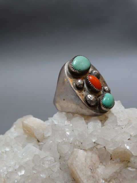 Native American Silver, Turquoise and Coral Ring Size 10.5
