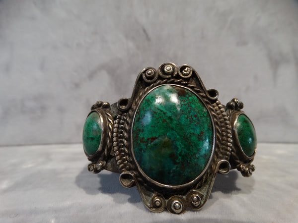 Navajo Silver and Green Turquoise Cuff