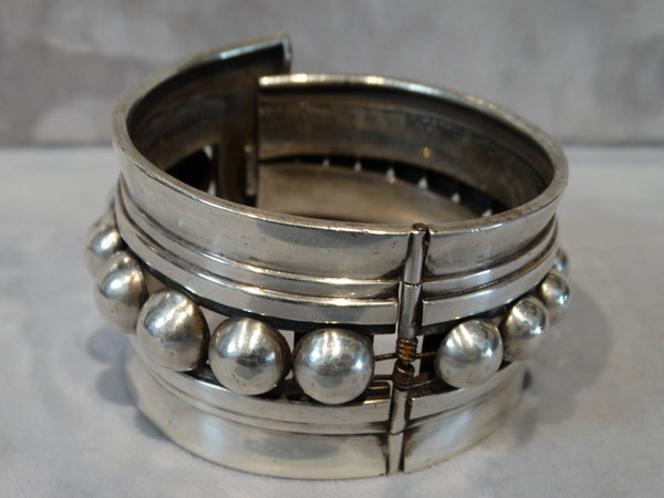 Mexican Taxco Sterling Cuff with Spring Hinge