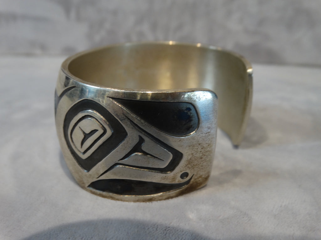 Silver Cuff - Contemporary with Northwest Motif