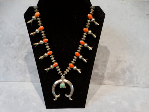 Navajo silver, coral, turquoise squash blossom necklace