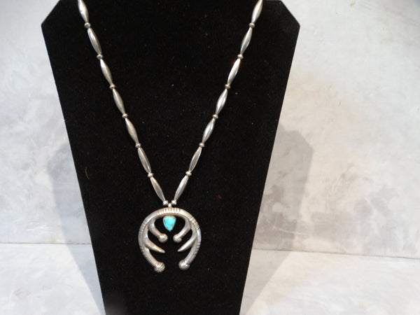 Navajo Silver Beads with Silver and Turquoise Naja
