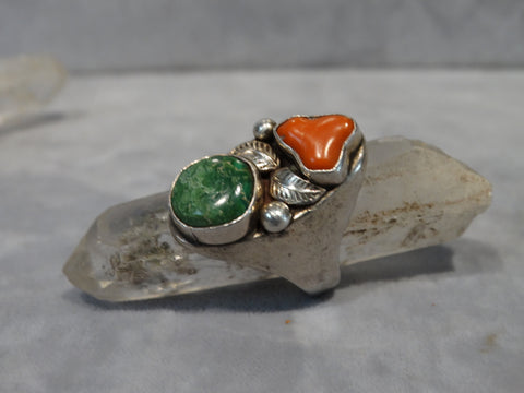 Navajo Silver and Turquoise/Coral Ring