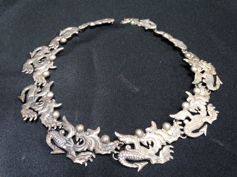 Mexican Silver Quetzalcoatl (Dragon) Necklace