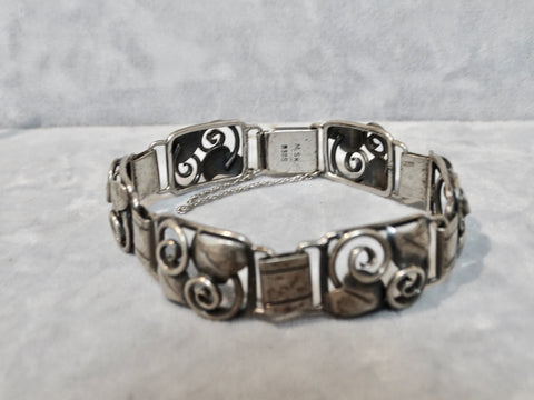 Danish Silver 1930s Bracelet w Leaf and Tendril Motif