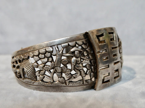 Chinese Silver Cuff with Ideogram and Peasant Scene in Relief c 1935