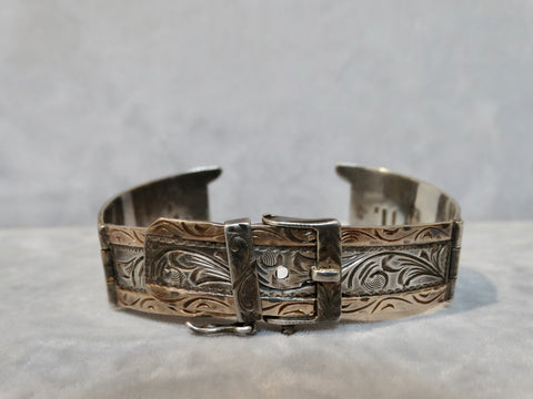 Mexican Silver GoldFilled Watch Band in the form of a Buckled Belt