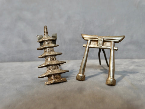 Silver Chinese Menu/Place Card Stands/Holders late 19th Century