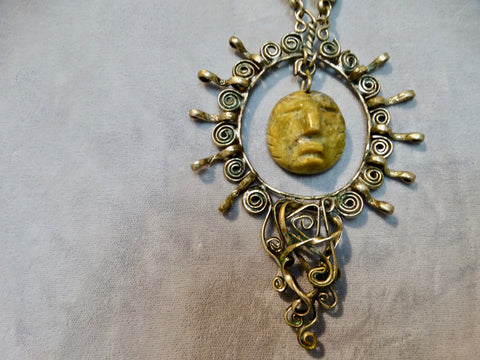 Silver Necklace and Jade Olmec Face Pendant 1970s