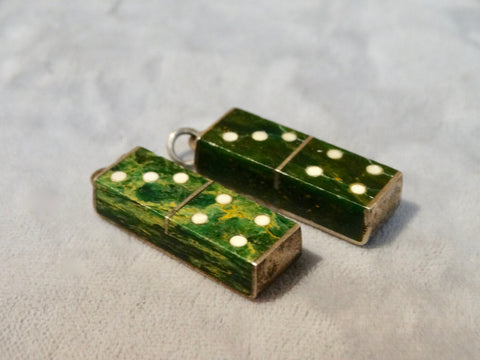Mexican Silver and Jade Dominoes Earrings