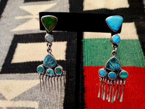 Frederico Navajo-Style Turquoise & Silver Custom Earrings