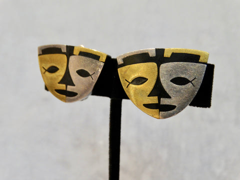 Mexican Mid-Century Modern Silver, Brass & Ebony Earrings