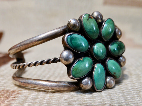 Navajo 8-stone Floral Silver & Turquoise Cuff
