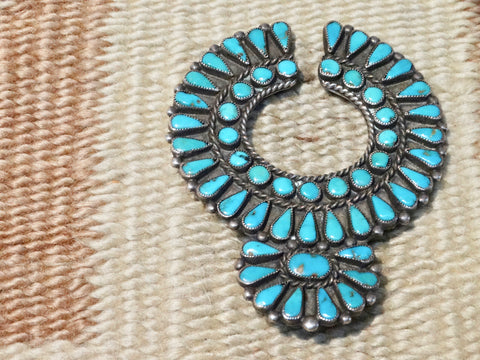 Zuni Silver and Turquoise Pendant Pin