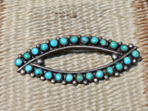Zuni Silver and Turquoise Eye Pin