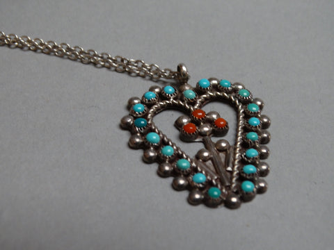 Zuni Turquoise, Coral and Silver Heart Pendant
