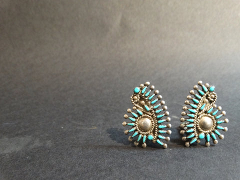Zuni Vincent, Socorro Johnson Silver and Turquoise Earrings