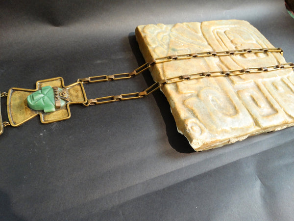 Mexican Brass and Jade Pendant