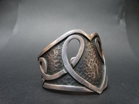 Margot de Taxco Silver Heart Cuff Arts and Crafts Design  #5195