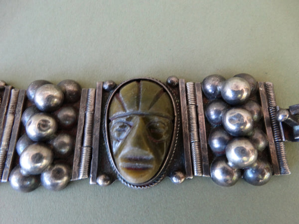 Mexican Aztec Jade Carved Heads Bracelet