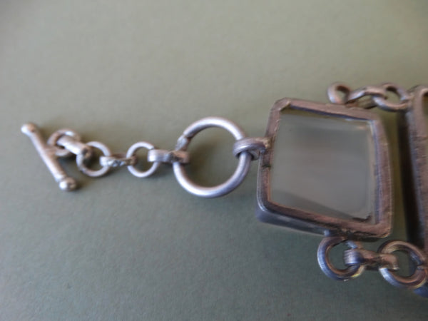 Sterling Silver Framed Glass Link Bracelet