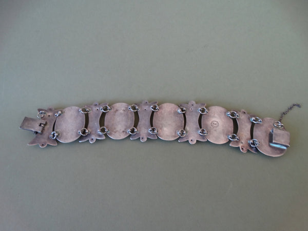Mexican Silver and Stone Link Bracelet