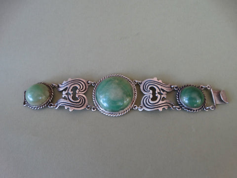 Mexican Silver and Jade Link Bracelet