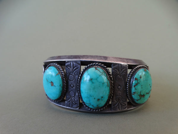 Navajo Silver and Turquoise Cuff