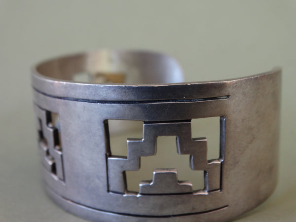 Mexican Silver Cuff with Aztec Cutouts
