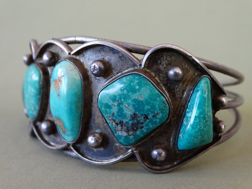 Navajo Silver Cuff with Turquoise Stones