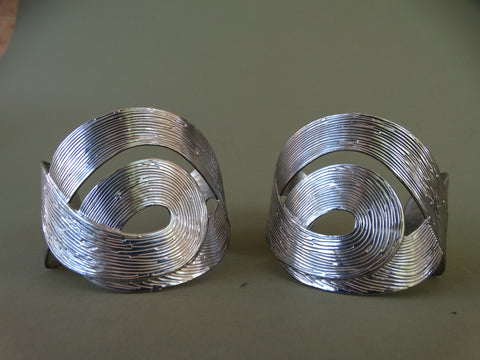 Contemporary Silver Cuffs, Pair