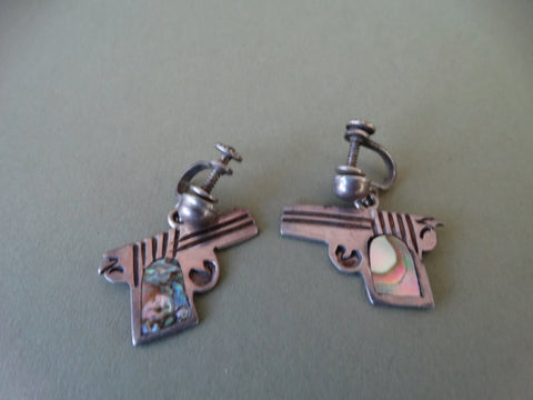 Mexican Silver and Abalone Revolver Earrings
