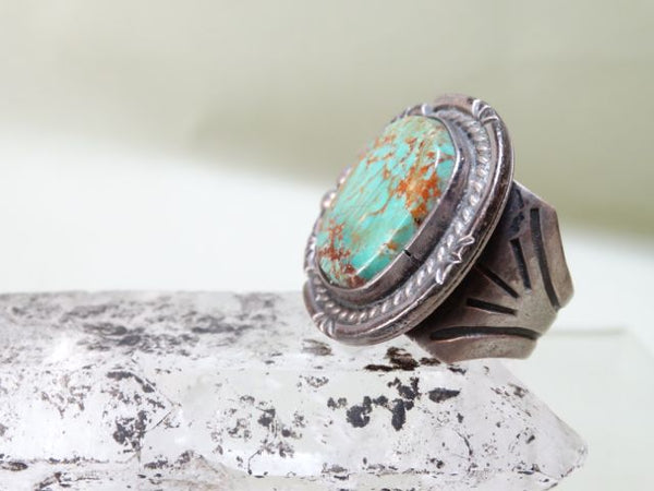 Navajo Round Mined Turquoise and Silver Ring Size 9