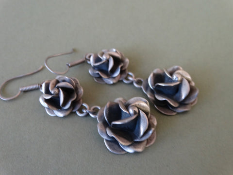 Mexican Silver Rose Earrings J281