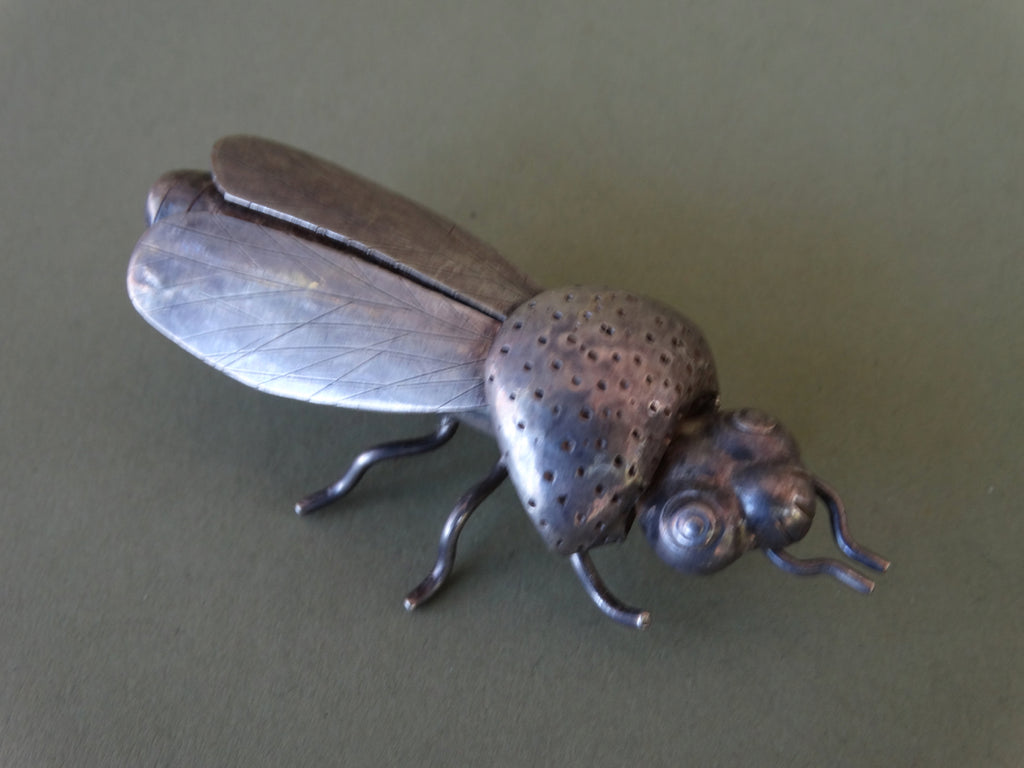 Mexican Sterling Silver Cicada Brooch J283