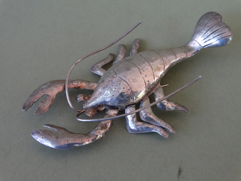 Mexican Sterling Silver Lobster Brooch J285