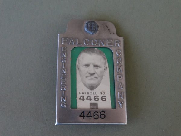 Vintage Employee ID Badge: Falconer Engineering Co. J289